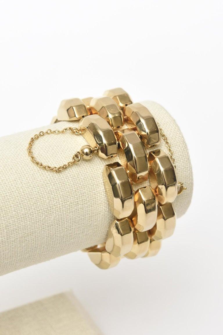 Gold Plate Over Sterling Silver Link Bracelet Signed For Sale 2