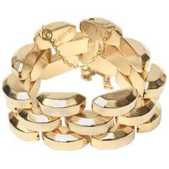 Gold Plate Over Sterling Silver Link Bracelet Signed