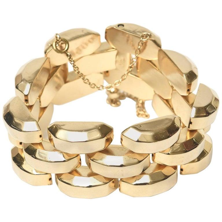 Gold Plate Over Sterling Silver Link Bracelet Signed For Sale