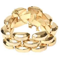 Gold Plate Over Sterling Silver Link Bracelet Signed Vintage
