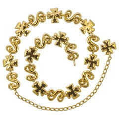 Gold Plated Adjustable Belt with a Maltese Cross and Swirl Design Made in Spain