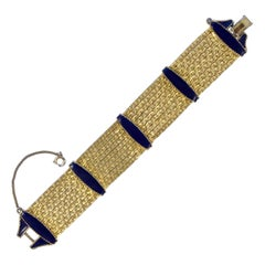 Gold Plated Anchor Link Chain Bracelet with Dark Blue Enamel Bars circa 1950s