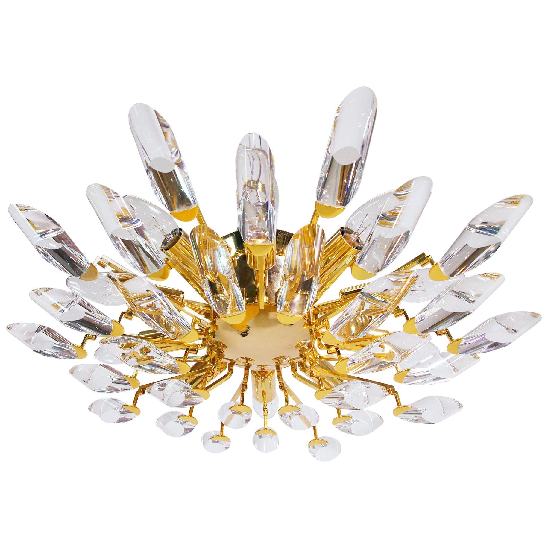 1970s Italy Stilkronen Flush Mount Chandelier Crystal Glass & Gilt Brass