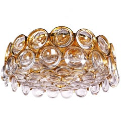Gold-Plated and Crystal Glass Flush Mount Chandelier by Palwa