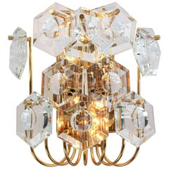 1960s Germany Kinkeldey Wall Sconce Faceted Crystals & Gilt Brass