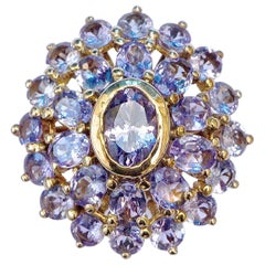 Gold Plated and Silver Faux Tanzanite Dress Ring circa 1990s