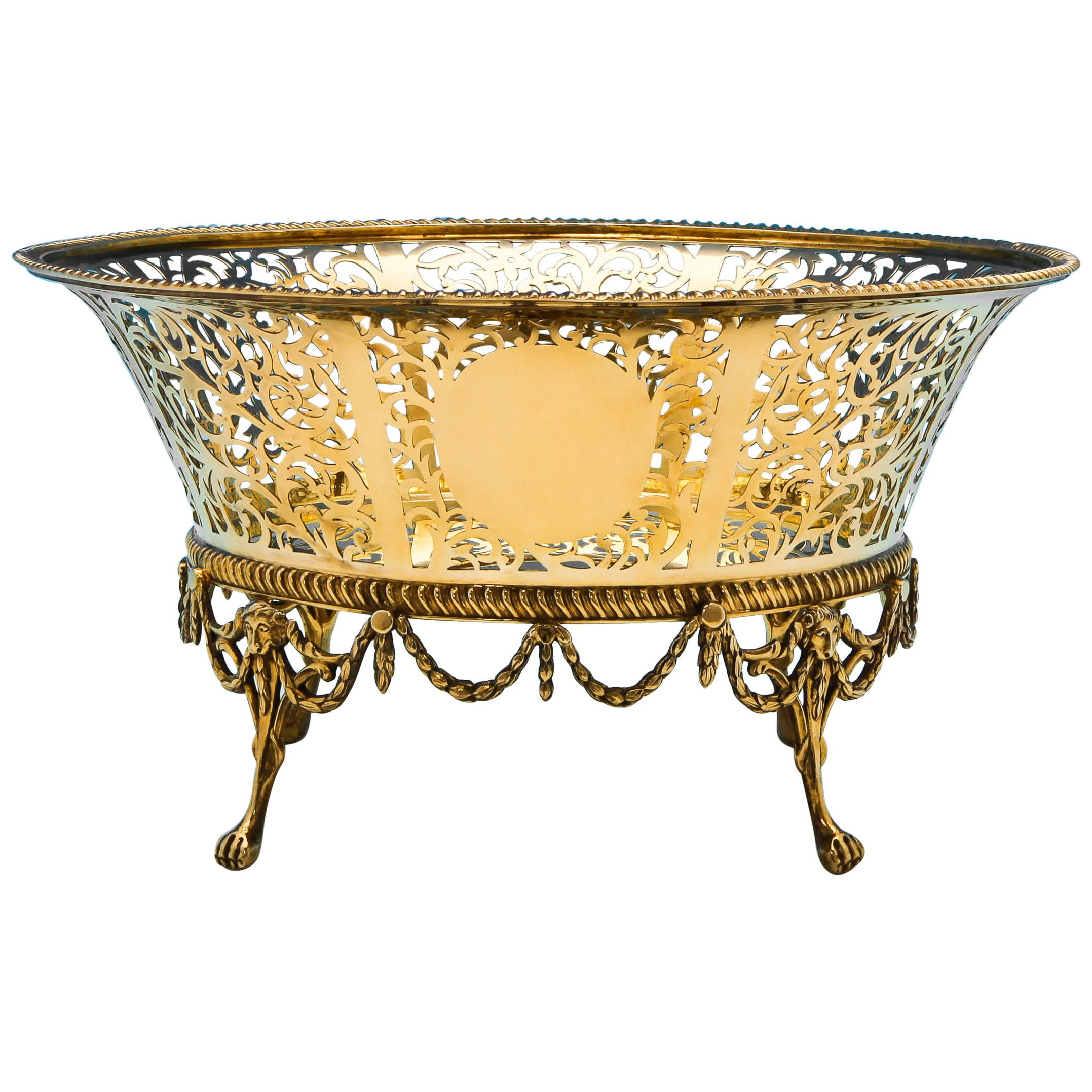 Gold Plated Antique Sterling Silver Bowl from 1909 by Goldsmiths & Silversmiths