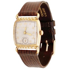 Gold Plated Art Deco Style Watch with Lizard Leather Strap by Bulova, 1953
