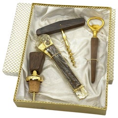Gold-Plated Bar Accessories Set & Cigar Cutter, Mid-Century Modern 1960s German