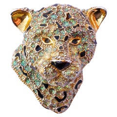 Gold Plated Black Enamel and Multi Green Leopard Head Statement Brooch