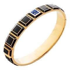 Gold-Plated Black Enamel Blue Sapphire Carousel Bracelet