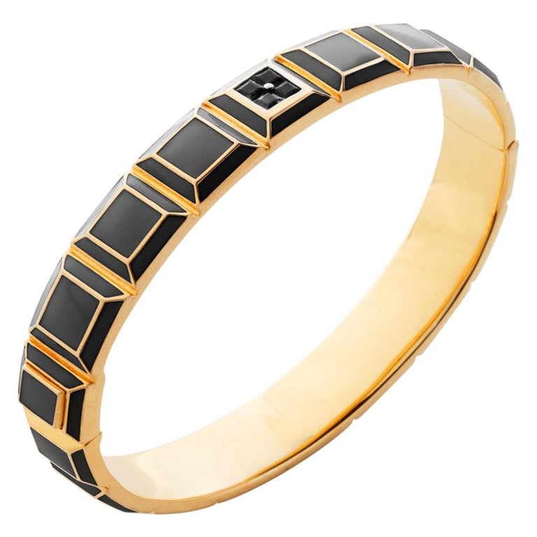 Gold-Plated Black Enamel Black Diamond Carousel Bracelet For Sale
