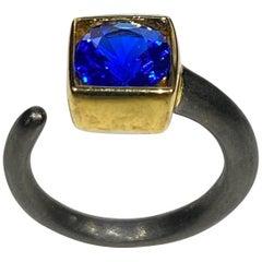 Blue Garnet Silver Ring