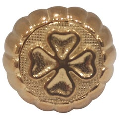 Gold plated blue four-leaf clover ring