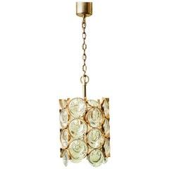 Gold-Plated Brass Framed Glass Chandelier, by Gaetano Sciolari