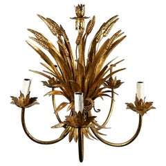 Gold-Plated Brass Sheaf of Wheat Chandelier, by Hans Kögl, 1970s