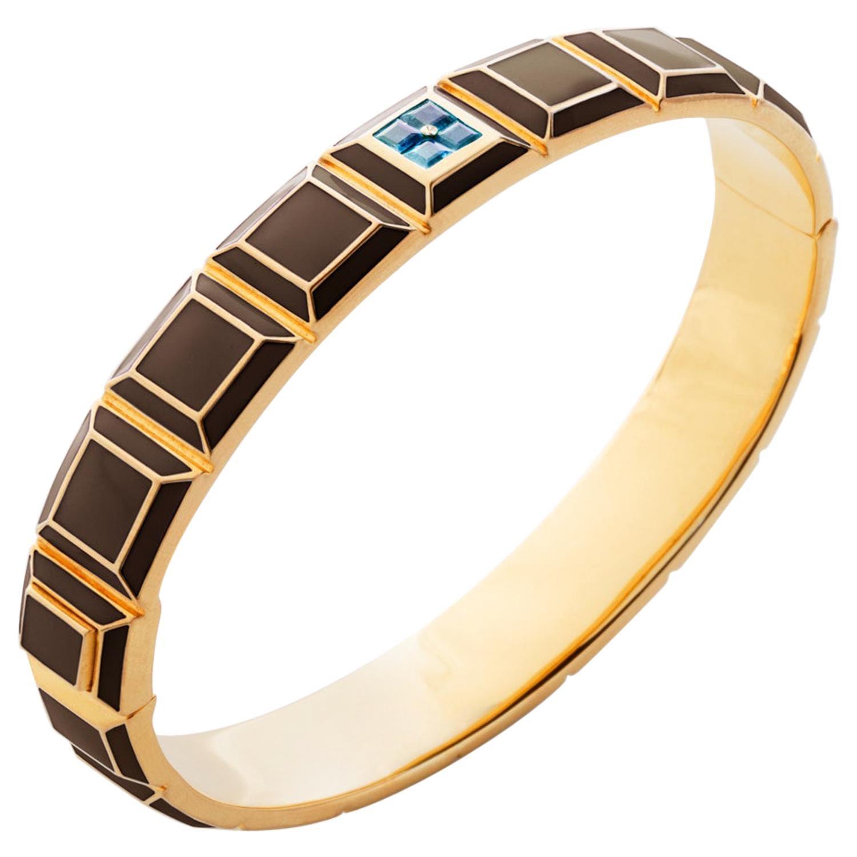 Gold-Plated Brown Enamel Aquamarine Carousel Bracelet