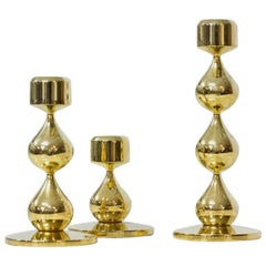 Gold-Plated Candleholders by Hugo Asmussen, Denmark, Set of 3