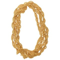 Gold Plated Spiral Chain Wrap Necklace Vintage