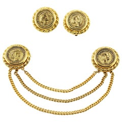 Gold-Plated Clip Earrings Collar Chain Brooch Pin Set Britain Pound Sterling