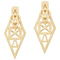Gold-Plated Convertible Rhombus Shaped with Geometrical Cut-Out Greek Earrings