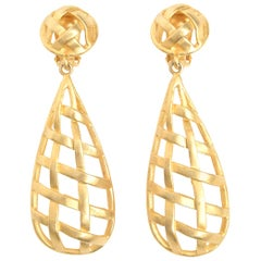 Gold Plated Criss Cross Cage Dangle Clip On Earrings