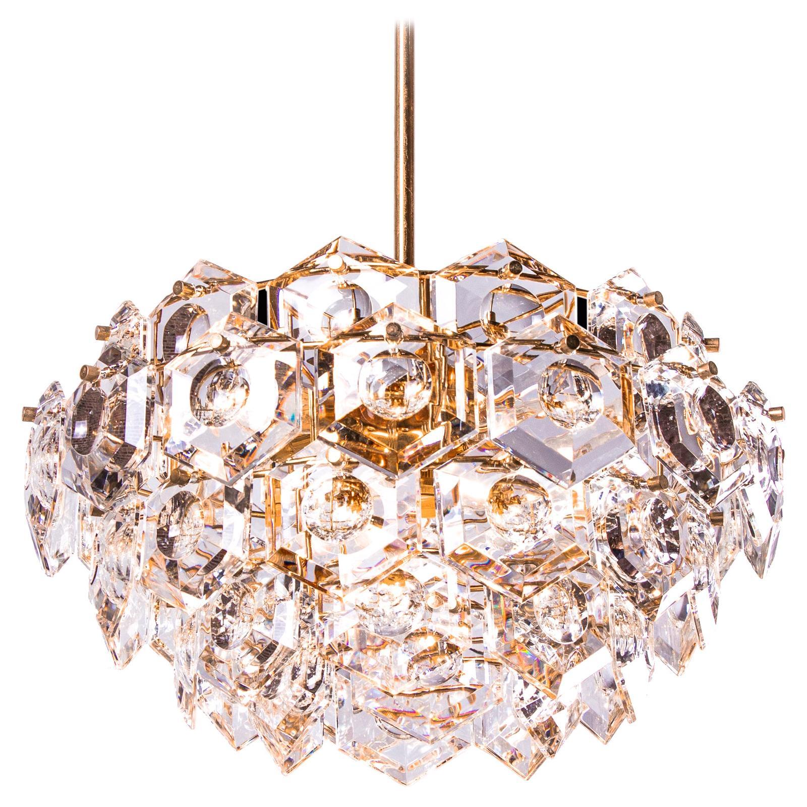 Gold-Plated Kinkeldey Chandelier Crystal & Brass, Germany, 1960s