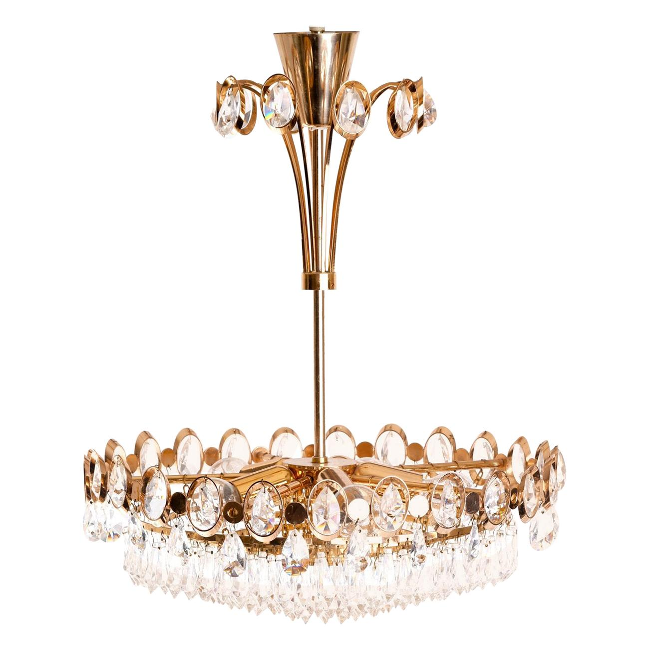 Gold-Plated Crystal Glass Chandelier, 1970s