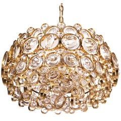 1960 Germany Palwa Bubble Chandelier Crystal & Gilt Brass by Gaetano Sciolari