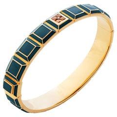 Gold-Plated Deep Sea Blue Enamel Topaz Carousel Bracelet