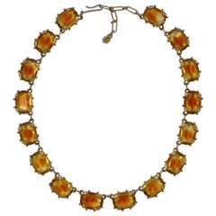 Gold Plated Faceted Oval Amber and Clear Glass Riviere Necklace circa 1950s