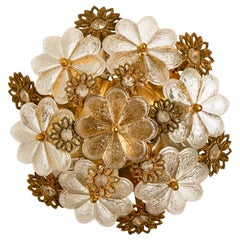 Gold-Plated Flower Wall Light/ Flush Mount by Palwa, 1960s