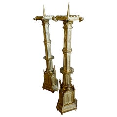 Gold-Plated Gothic Candlesticks