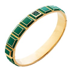 Gold-Plated Green Enamel Emerald Carousel Bracelet