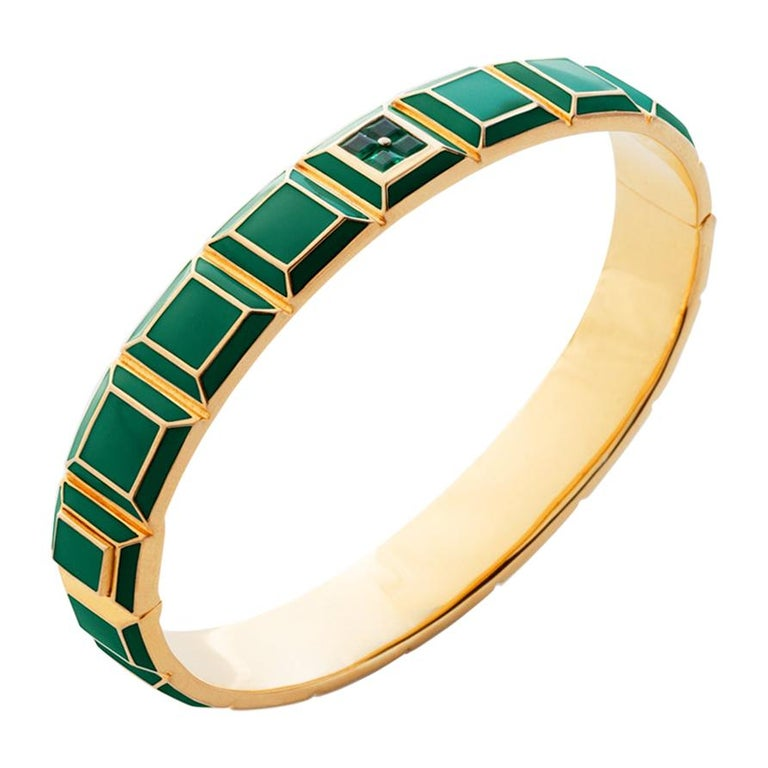 Gold-Plated Green Enamel Emerald Carousel Bracelet  For Sale