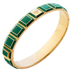 Gold-Plated Green Enamel Zodiac Carousel Bracelet