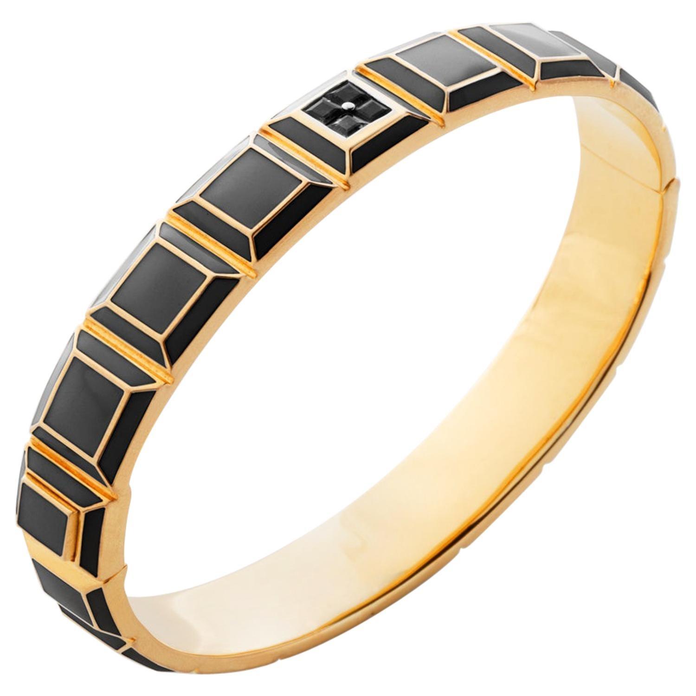 Gold-Plated Grey Enamel Black Diamond Carousel Bracelet