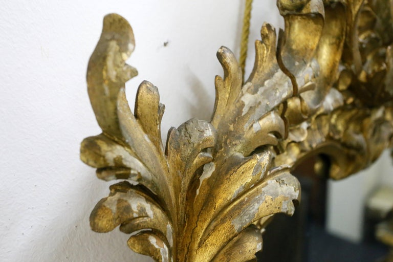 Gold-Plated Hand Carved Wood Mirror, Rococo Style, 19th Century In Good Condition For Sale In Budapest, HU