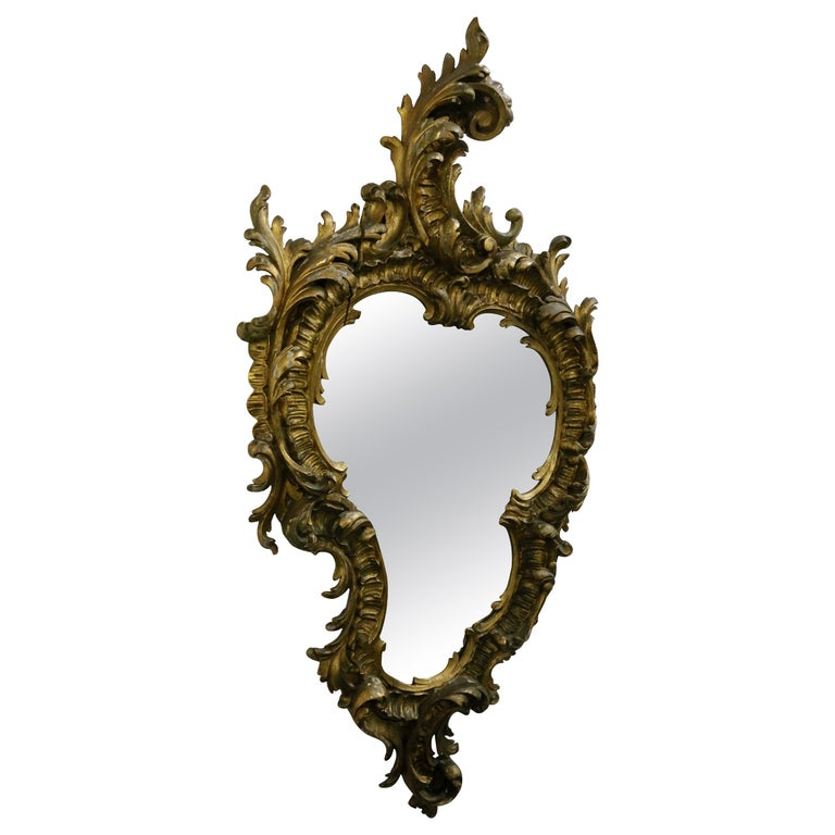 Gold-Plated Hand Carved Wood Mirror, Rococo Style, 19th Century For Sale