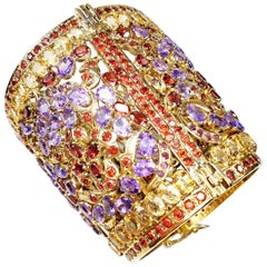 Gold-Plated Indian Cuff Bracelet with Amethysts, Citrines and Granates