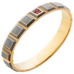 Gold-Plated Light Grey Enamel Ruby Carousel Bracelet
