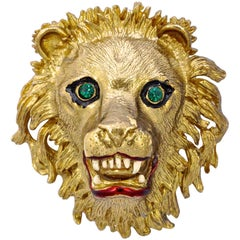 Gold Plated Lion Head Statement Brooch with Green Rhinestone Eyes, by Sphinx