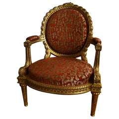 Gold-Plated Louis XVI Chair from 1860