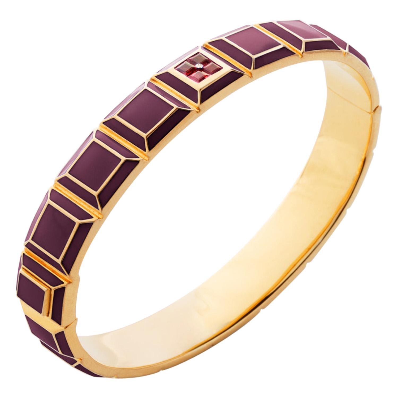 Gold-Plated Bordeaux Enamel Ruby Carousel Bracelet