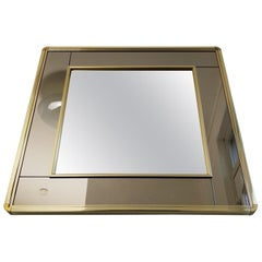 Gold-Plated Mirror with Smoked and Clear Mirror Glass by Belgo Chrome, 1980s