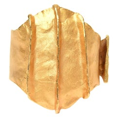 Gold Plated Modernist Cuff Bracelet by Dauplase French