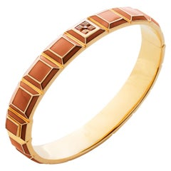 Gold-Plated Orange Enamel Topaz Carousel Bracelet