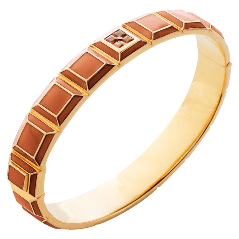 Gold-Plated Orange Enamel Topaz Carousel Bracelet For Sale