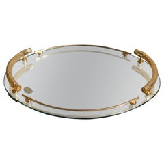 Gold-Plated Oval Mirrored Tray by Dimart Milano Italy, 1980s