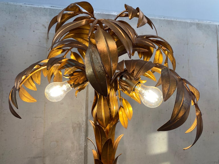 Gold-Plated Palm Tree Floor Lamp by Hans Kögl, 1970, Hollywood Regency Design For Sale 3